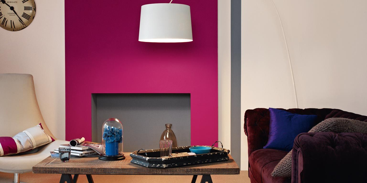 feature wall with grey not black. this picture is sumptuous plum ...