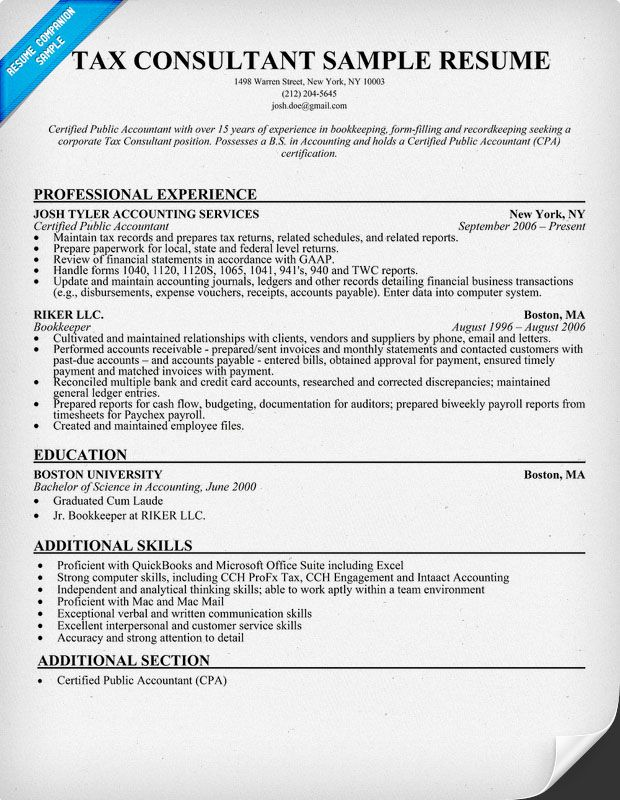 tax consultant resume sle resumecompanion