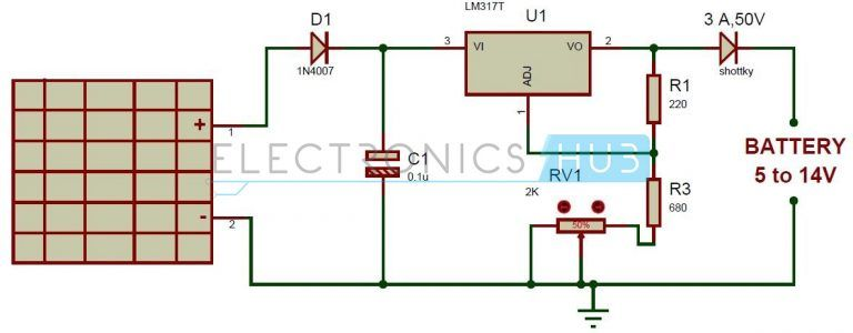 Solar Battery Charger Circuit Using Lm317 Voltage Regulator Battery Charger Circuit Solar Battery Charger Solar Battery
