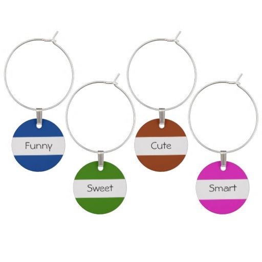 Funny, Smart, Cute, Sweet - Personality Wine Charms
