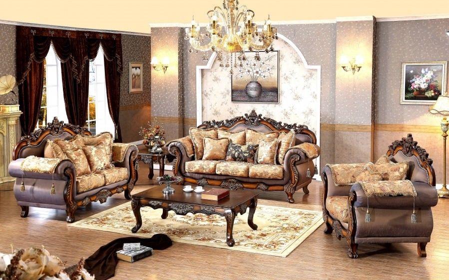 Meridian 693 Seville Hand Carved Traditional Living Room Set 2