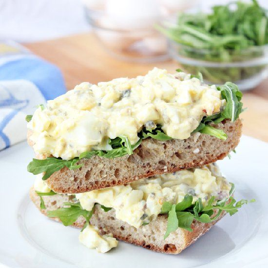 Healthy Egg Salad with Greek Yogurt and Capers.