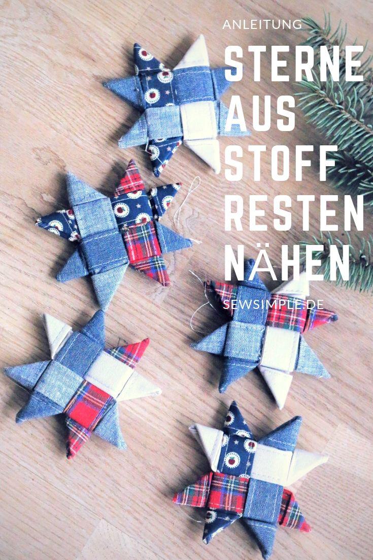 Weihnachts-Sterne aus Stoffresten nähen: Sterne aus Stoff nähen. Eine schöne Idee für stimmungsvolle Advents- und Weihnachtsdeko. Mit meiner Anleitung können auch Anfänger diese skandinavischen Faltsterne für Weihnachten ganz einfach selber machen. #artisanatautourdutissu