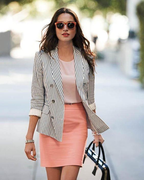 ¿Cómo combinar un blazer de rayas blanco y negro  - Divina EjecutivaDivina  Ejecutiva 038fa885530c