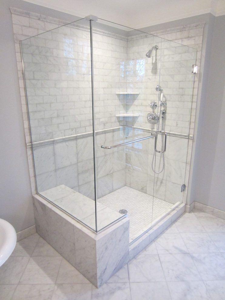 Fabulous Shower Bench Seat Ideas With Glass Door Marble Floor Tile