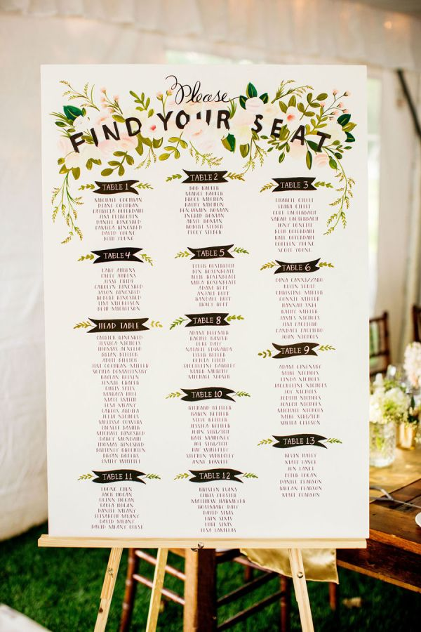 First Snowfall Handwritten Seating Chart  Seating Charts Wedding