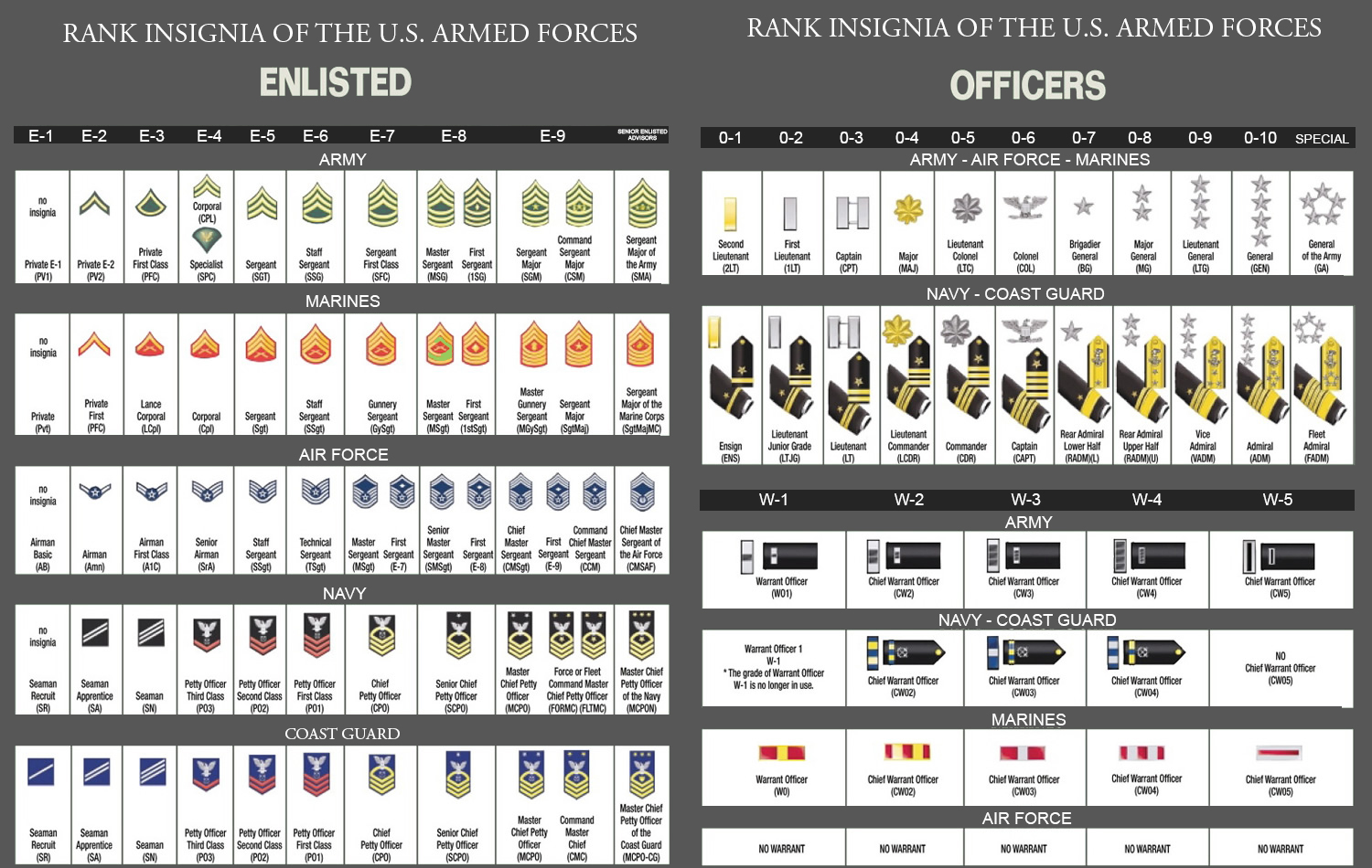 military rank chart army - Google Search