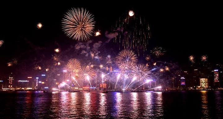 2014 New Year S Eve Pyrotechnics Show Hongkong Fireworks Show Hong Kong Victoria Harbour