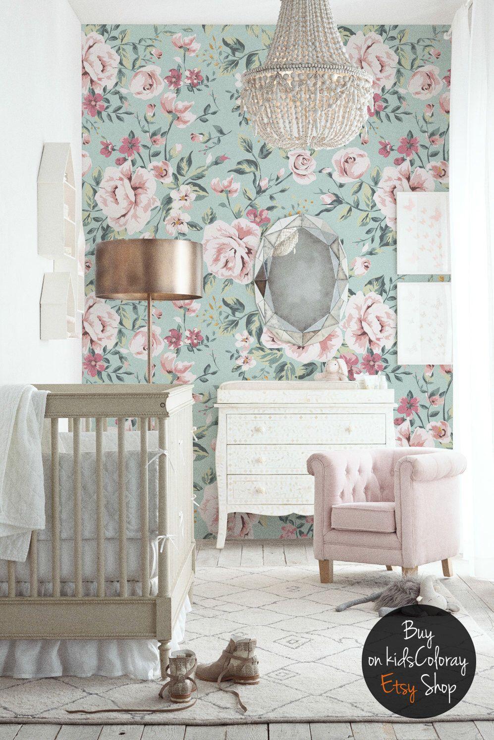 Nursery, Floral wallpaper, Vintage wall mural, Pastel ...