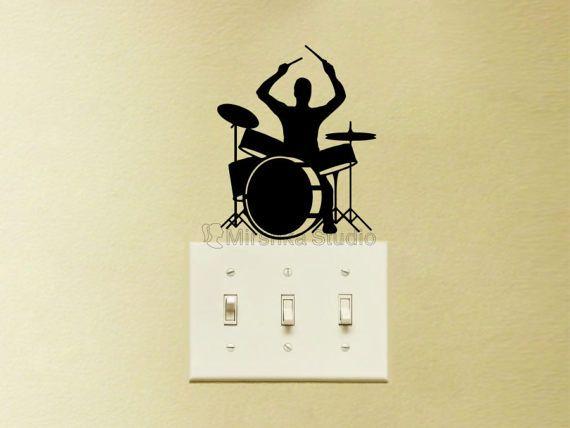 Drum Set Light Switch Velvet Decal - Drum Player Decor - Music Mac ...
