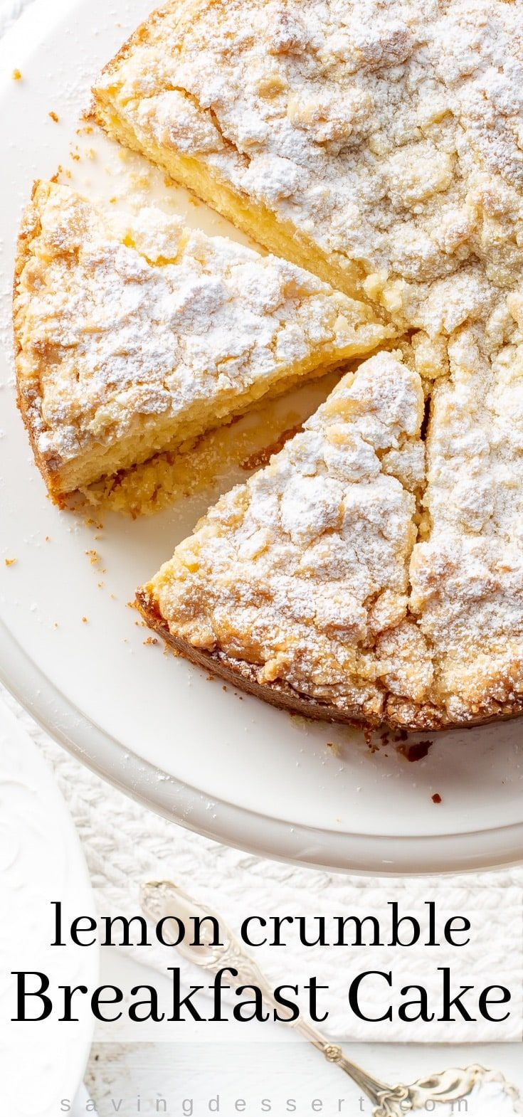 Lemon Crumble Breakfast Cake ~ from the first bite to the last, this cake is loaded with bright lemon flavor. This is a moist, tender cake topped with a sweet crumble top. Great for breakfast, brunch, afternoon tea or dessert. #breakfastcake #cake #lemoncake #lemon #crumbletop #breakfast #brunch #coffeecake #dessert #crumblecake
