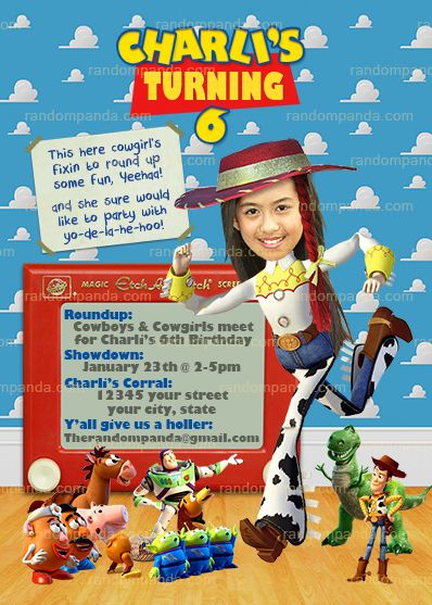 Personalize Toy Story Invitation BE Jessie Cowgirl Roundup Party