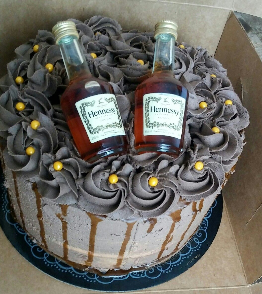 Chocolate hennessy cake infused with hennessy glaze with