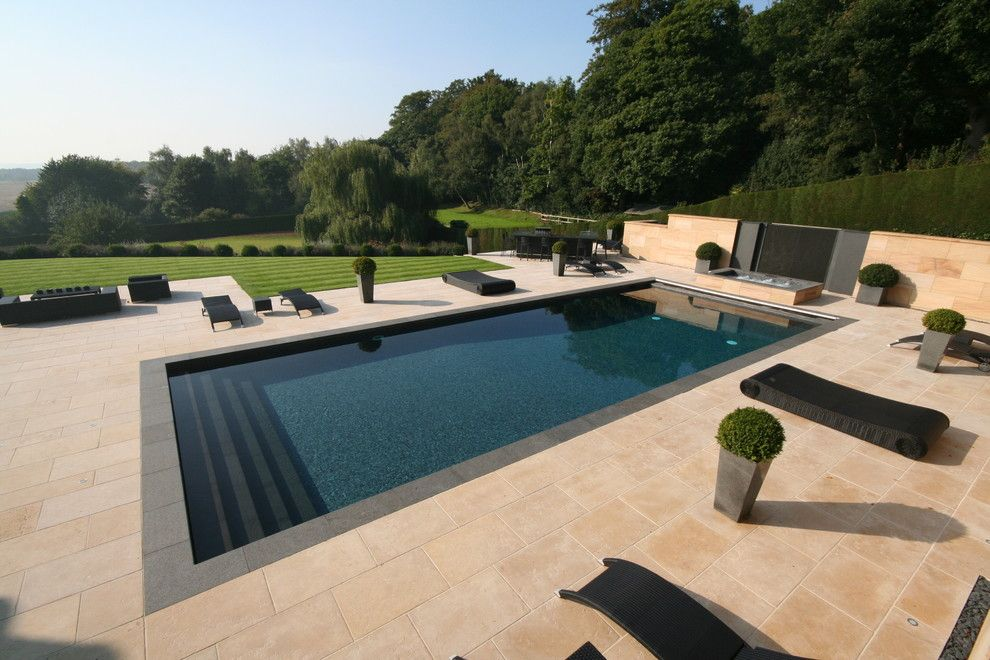 rectangular pool designs pool contemporary with black outdoor furniture fence - Swimming Pool Designer
