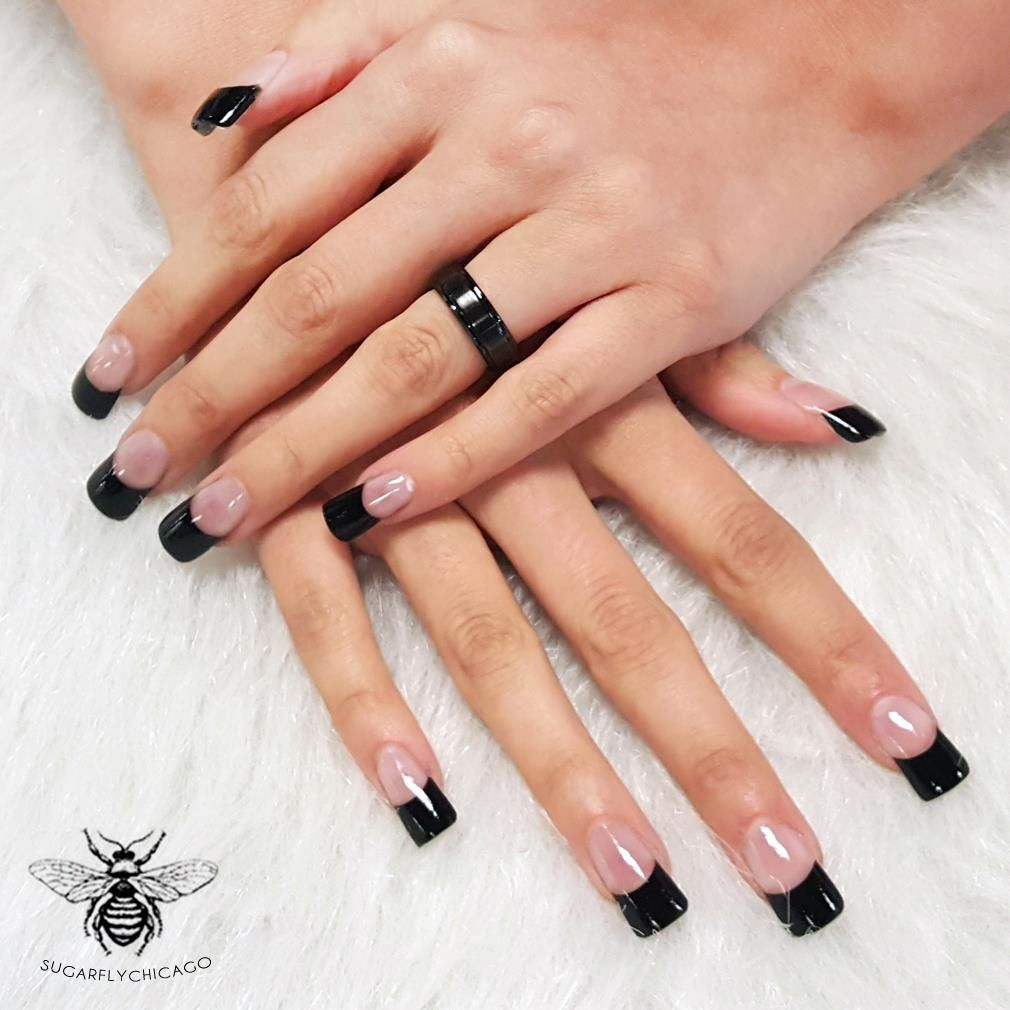 French Manicure With Black Tips Black French Nails Manicure French Manicure