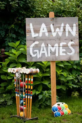Set up colorful lawn games…