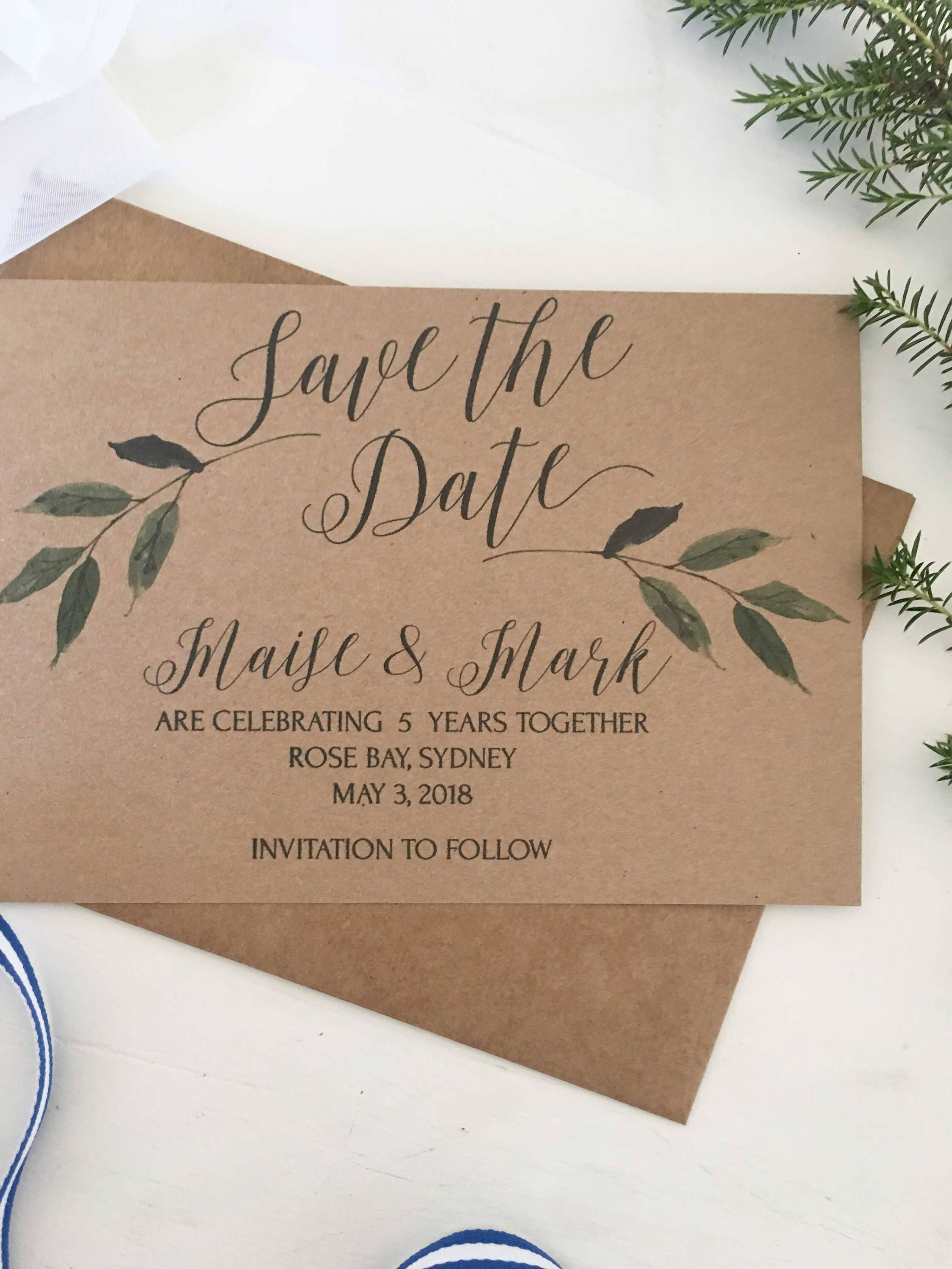 rustic save the date cards greenery save the date invitations