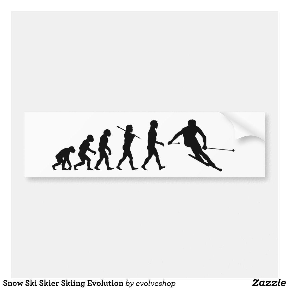 Snow Ski Skier Skiing Evolution Bumper Sticker Snow Ski Skiing Sports Stickers Bumper Stickers Work Stickers Snow Skiing [ 1106 x 1106 Pixel ]