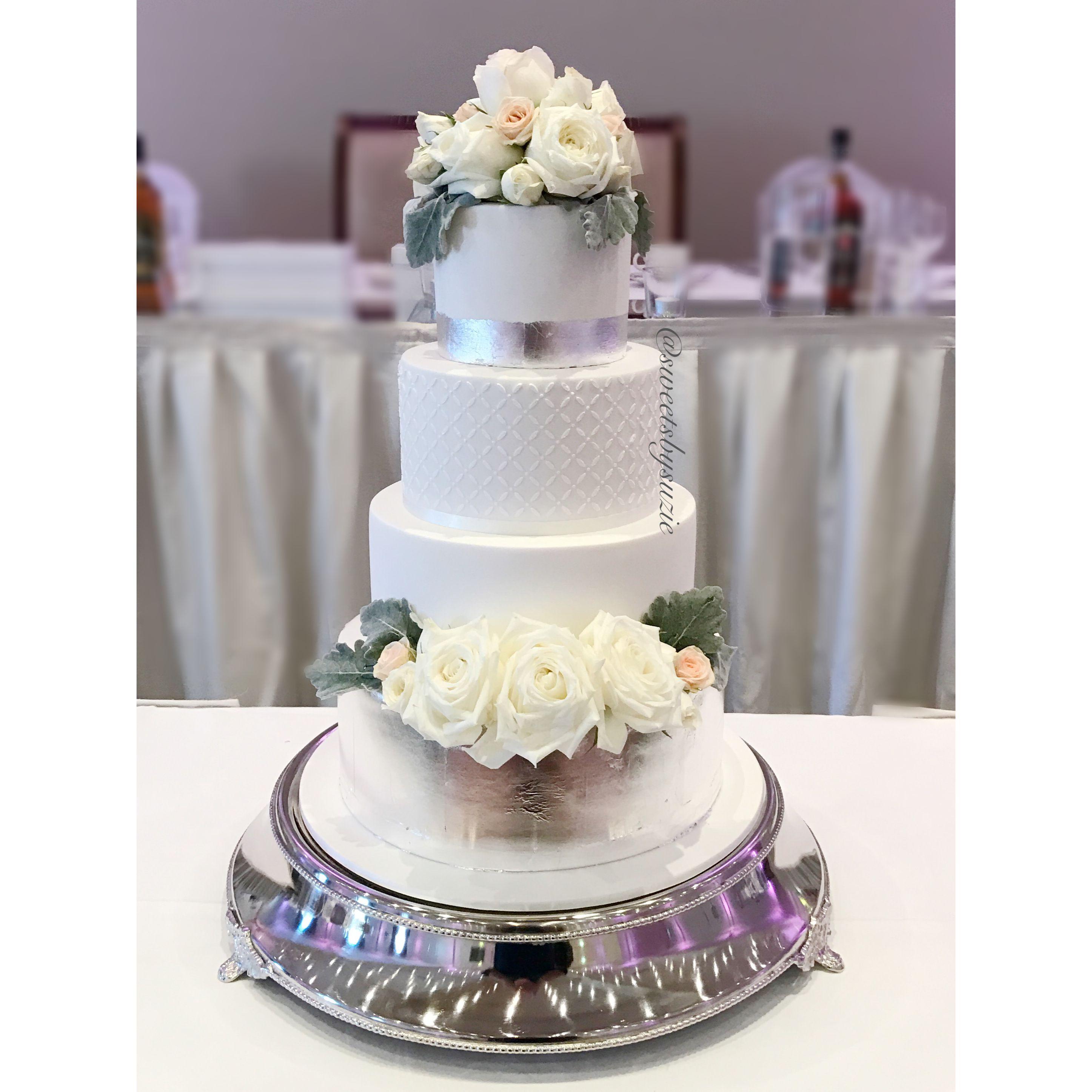 White and SilverLeaf Wedding Cake made by SweetsBySuzie in Melbourne ...