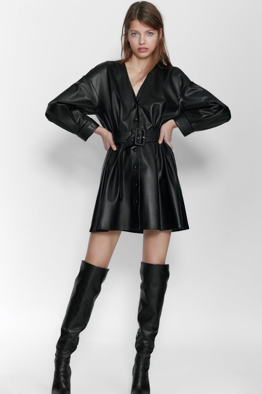 Robe en cuir synthétique avec ceinture en 2020 | Robe cuir
