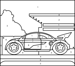 Dragster Printable Color By Number Page Coloring Pages Printable Coloring Pages Cars Coloring Pages