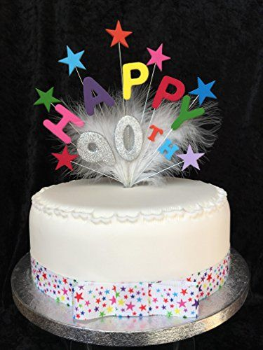 Happy 90th Birthday Cake Topper Multicoloured Stars