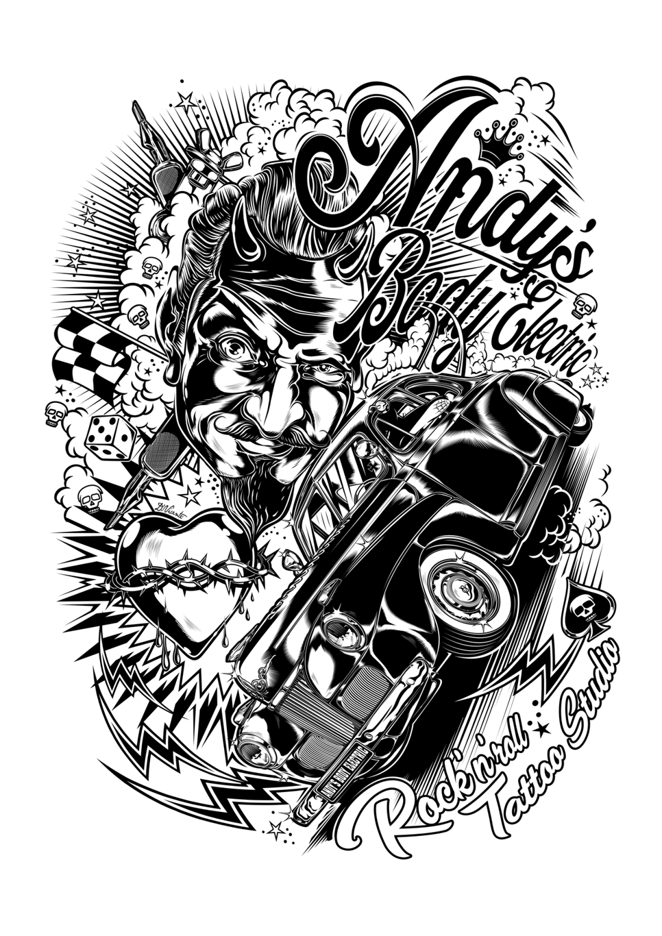"""Rock N Roll Tattoo Ideas: Design """"Andy's Body Electric"""