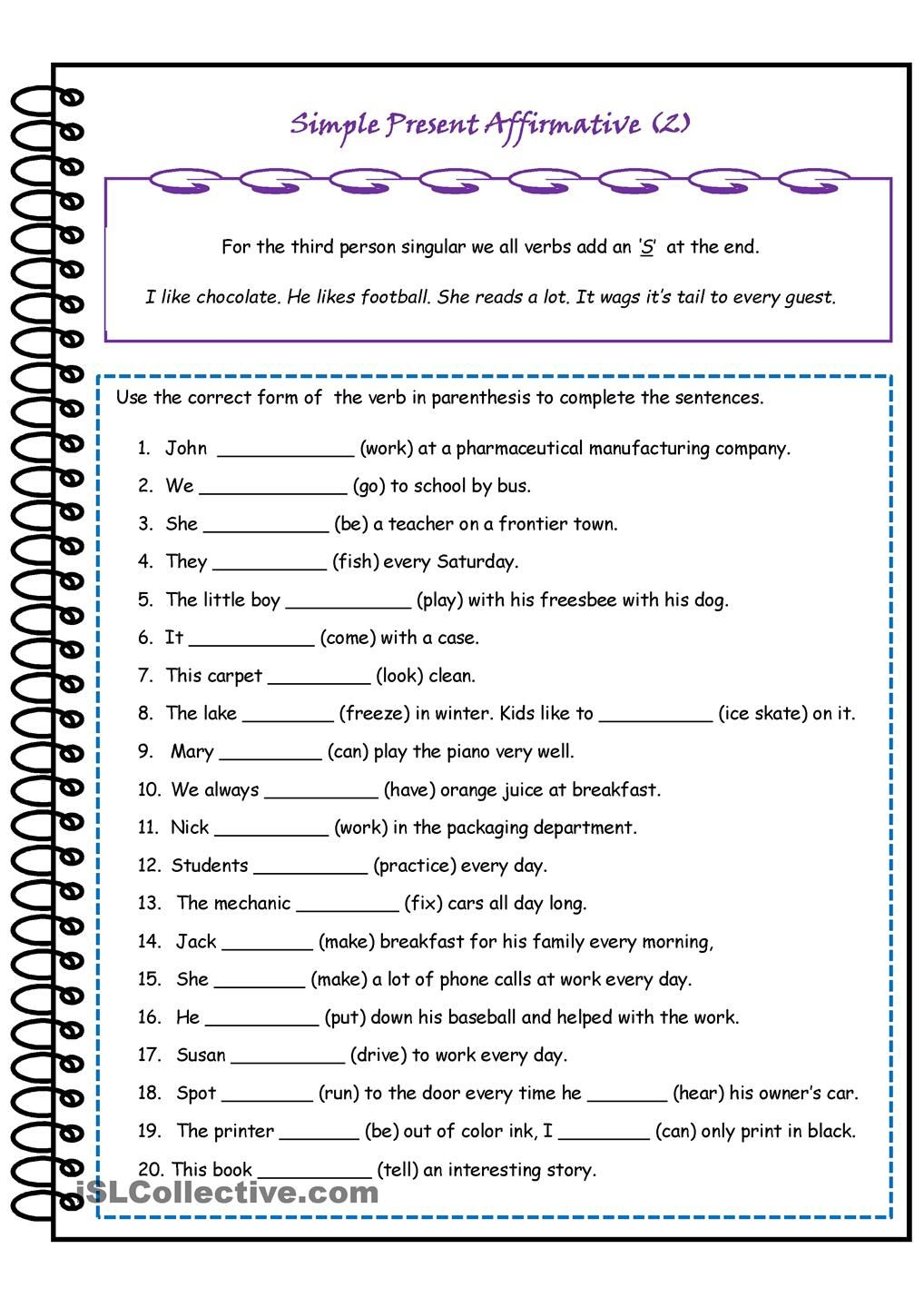 Simple Present Affirmative 3rd Person Singular – Beginner Esl Worksheets