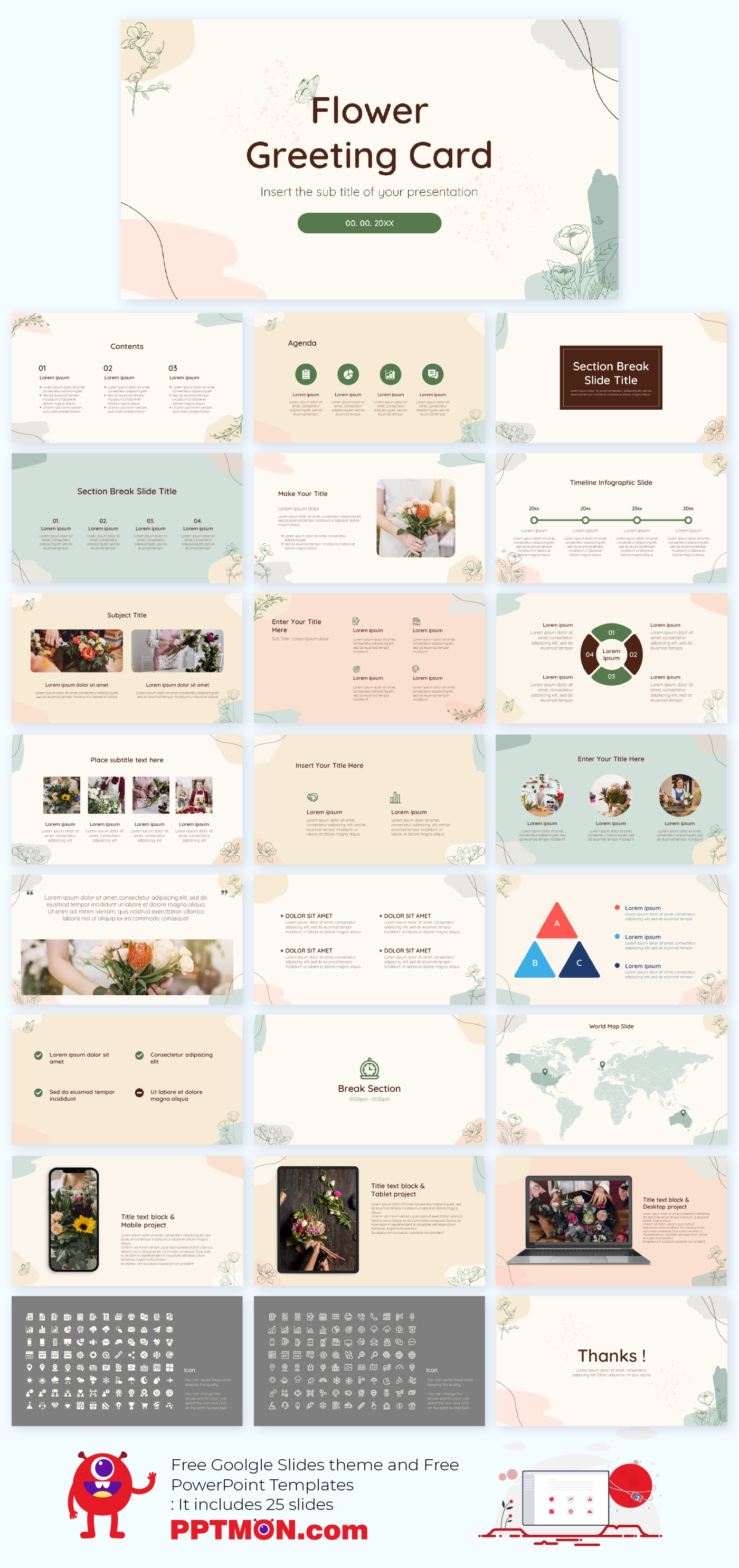 Flower Greeting Card Free Powerpoint Template And Google Slides Theme Presentation By P Powerpoint Templates Powerpoint Design Templates Google Slides Themes