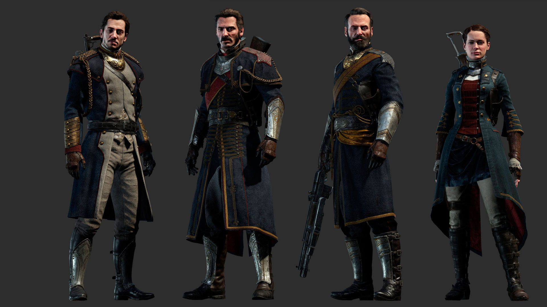 Marqués de Lafayette, Sir Galahad, Sebastian Malory  y Isabeau D'Argyll / The Order 1886 / PlayStation 4  #TheOrder1886 #shooter #Games #videogames #PlayStation4 #PS4 #ReadyAtDawn #Sony #SirGalahad #SebastianMalory #IsabeauDArgyll #MarquesdeLafayette #Lafayette