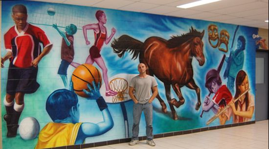 Murals in schools mt ash middle school mural 9 39 x 24 for Mural school