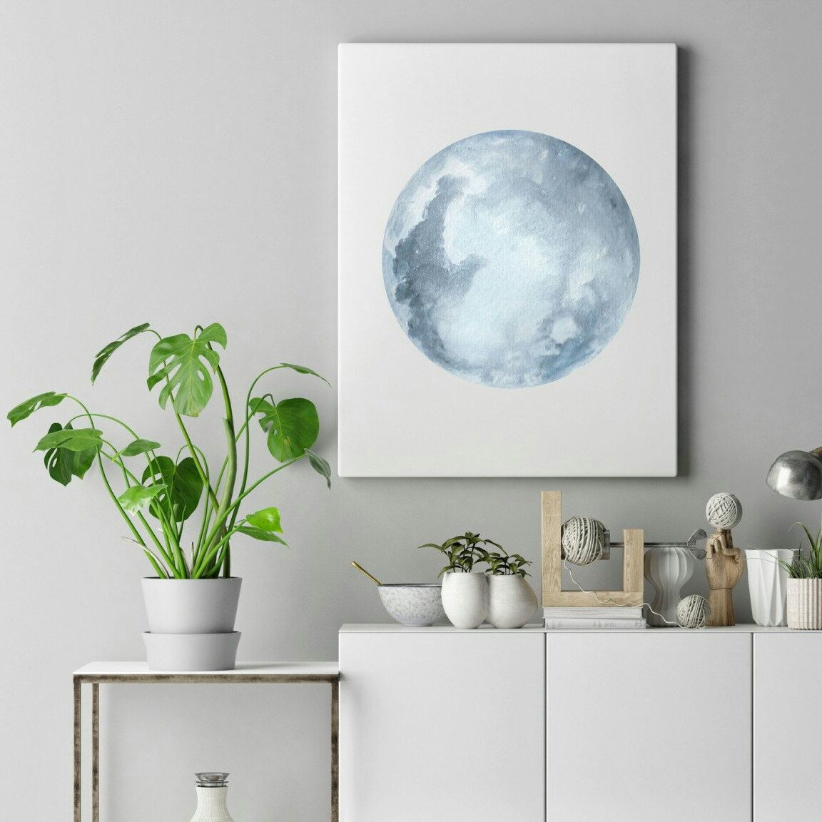 Watercolor moon print blue grey moon art full moon print moon art