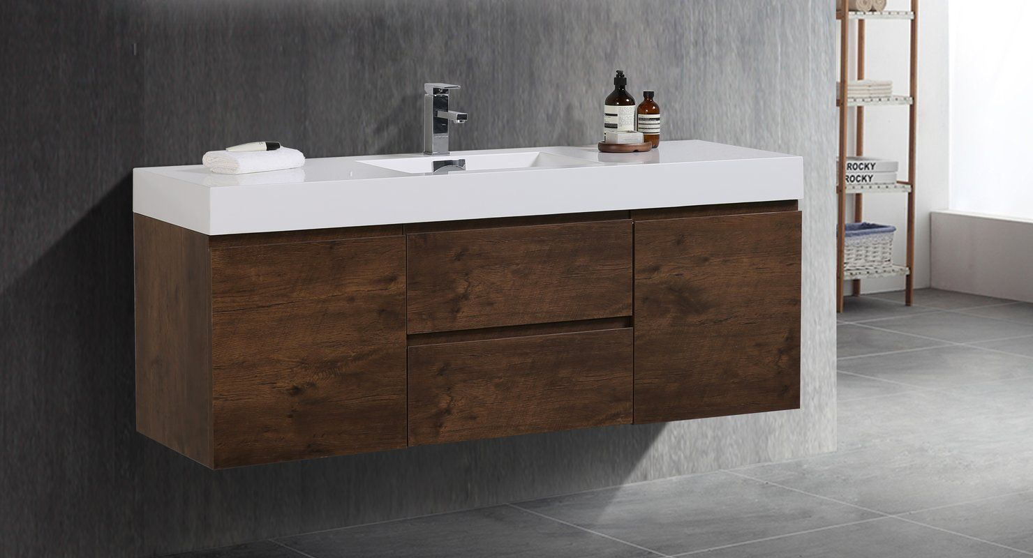 Isabela 59 Wall Mounted Single Bathroom Vanity Set Single