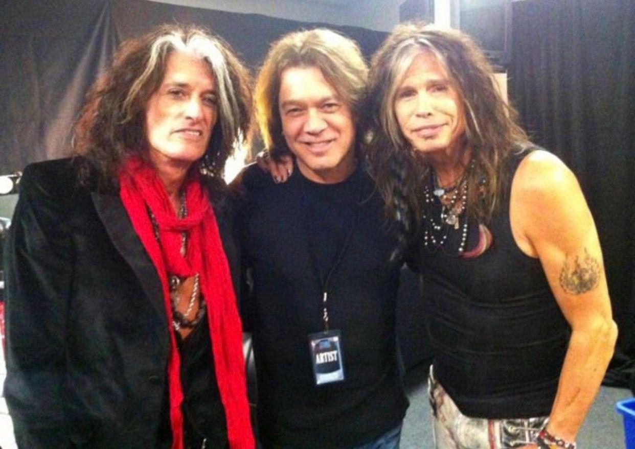 Steven And Joe With Eddie Vanhalin Van Halen Eddie Van Halen Joe Perry