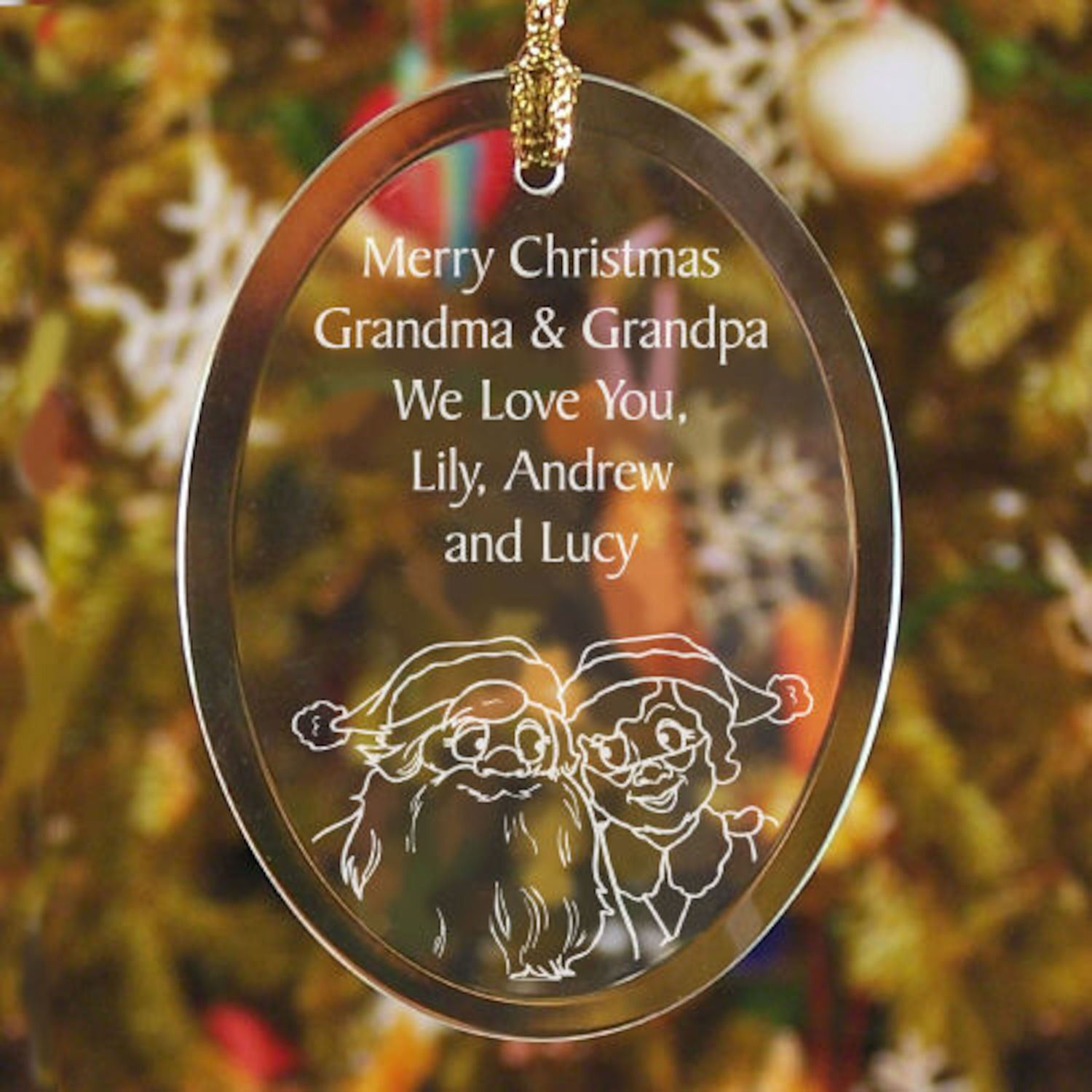 Personalized Grandparents Glass Ornament Products