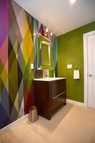 Eclectic Powder Room with specialty door, Cole & Sons Circus ...