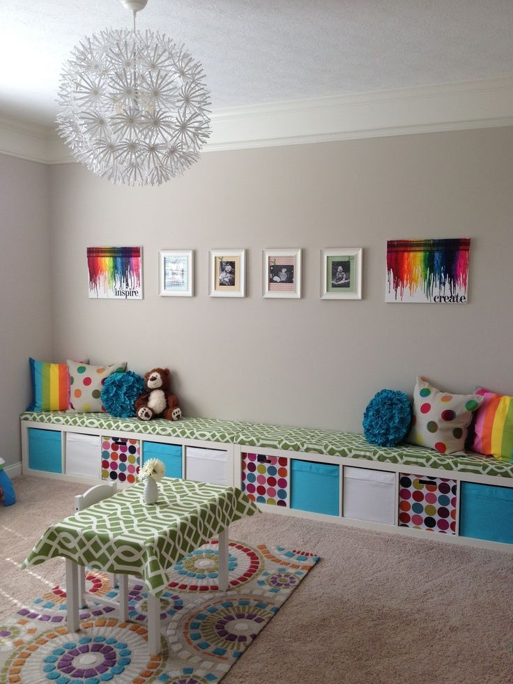 Soft Gray Walls One Wall Lined With Ikea Expedit Bench Pops Of Vibrant Color Like The Idea Around In Play Area