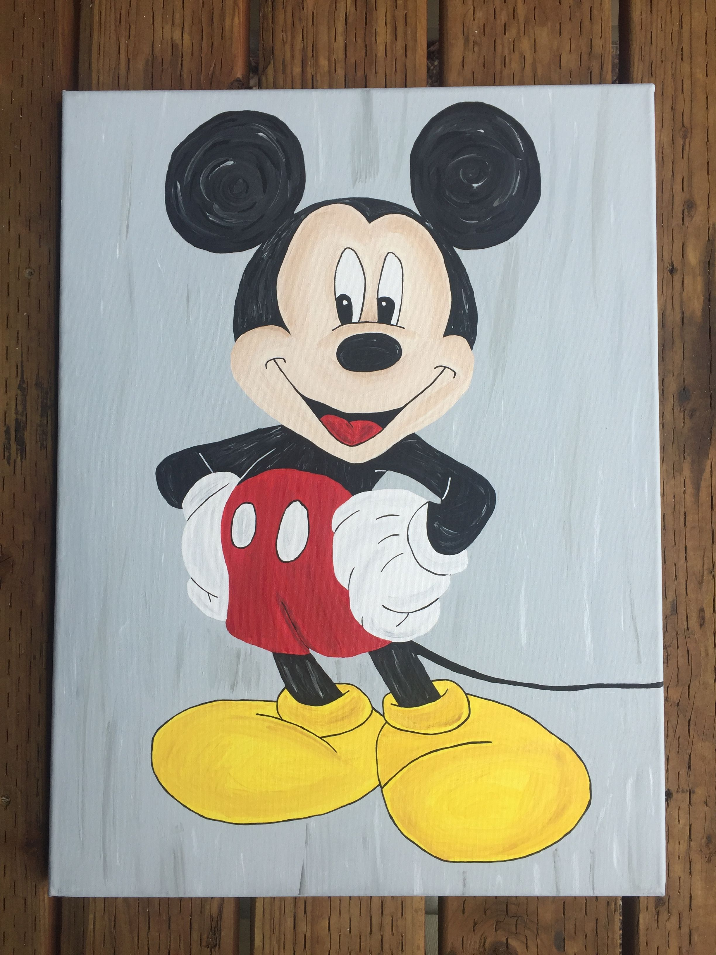 DIY Mickey Mouse acrylic painting | Diy painting, Painting ...