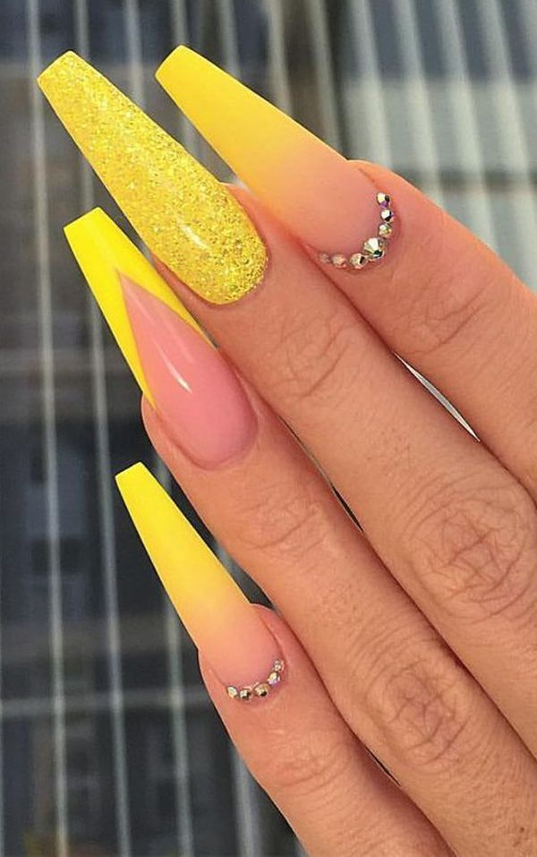 17 Bright And Colorful Yellow Nail Art For You To Try Coffin Nails Designs Neon Nail Designs Best Acrylic Nails