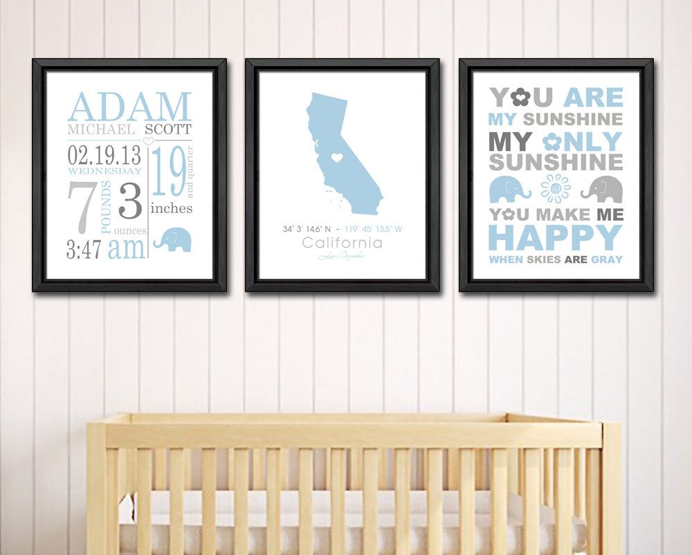 Baby birth announcement elephant baby boy room decor personalized baby birth announcement elephant baby boy room decor personalized baby boy gifts birth details print baby negle Gallery