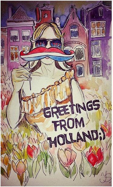 Travel illustration greeting from holland aquarelle 32x197 travel illustration greeting from holland aquarelle m4hsunfo