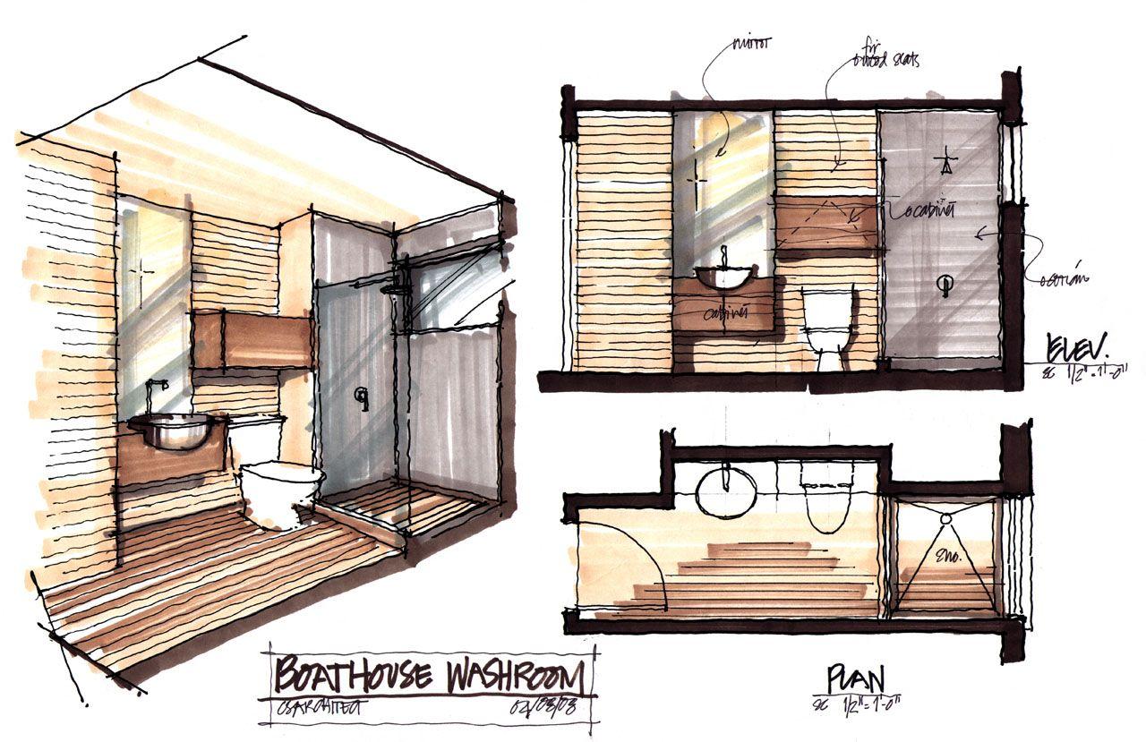 Washroom Plan Boathouse Renovation and Extension in Muskoka Lakes