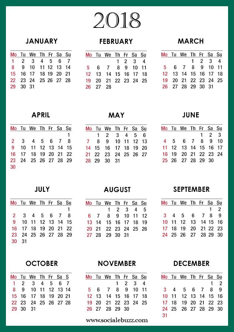 blank 2018 calendar template pdf httpsocialebuzzcom2018 calendar template
