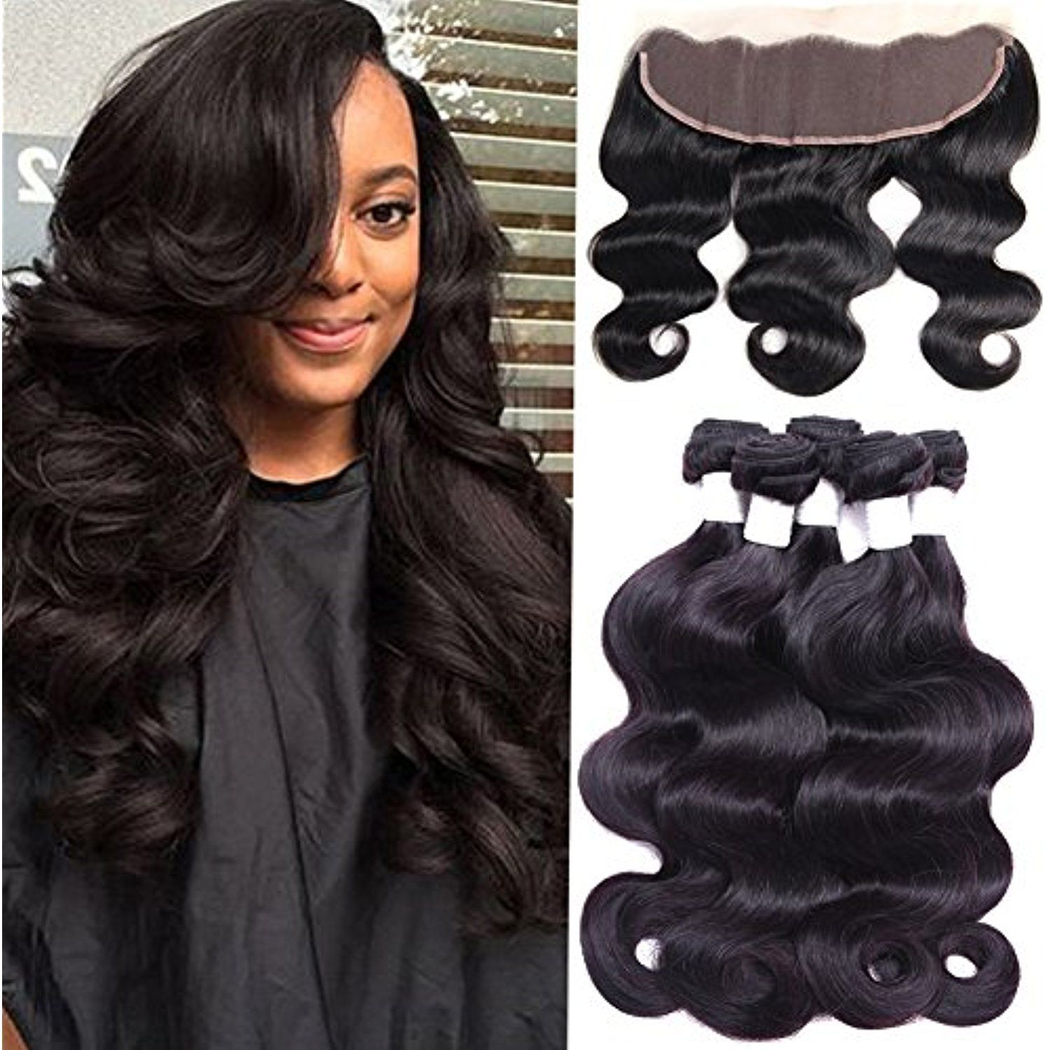 Flady Hair Brazilian Body Wave 3 Bundles With Lace Frontal Closure Ear To Ear Unprocessed 7a Brazilian Virgin Human H Brazilian Body Wave Human Hair Scene Hair