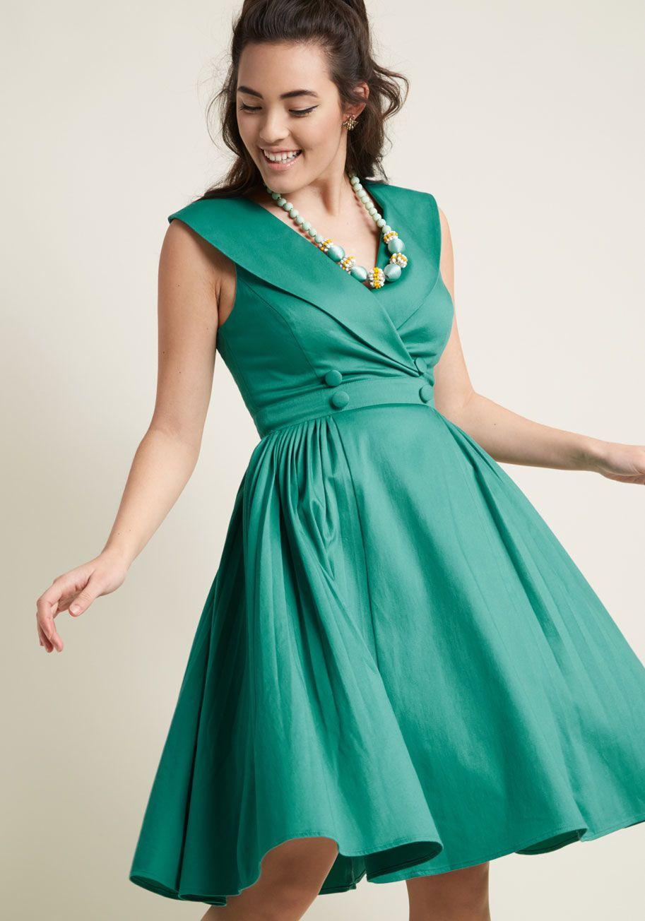 Posh and Punctual Flared Midi Dress | ModCloth, Frocks and Midi dresses