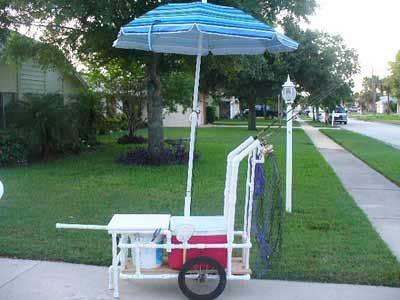Pvc homemade fishing cart with umbrella and table kayak for Homemade fishing cart