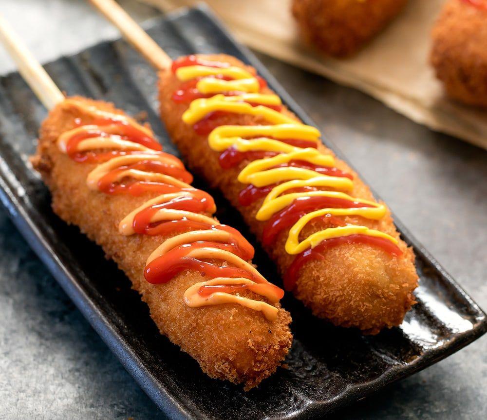 Korean hot dogs recipe street food food corn dogs
