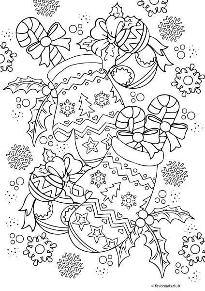 Easy Christmas Coloring Pages For Adults