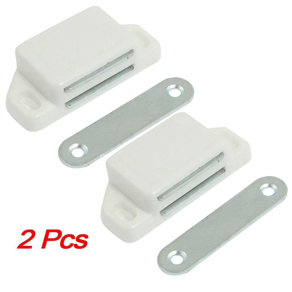 2 Pcs Practical Plastic Cabinet Cupboard Door Magnetic White Latch
