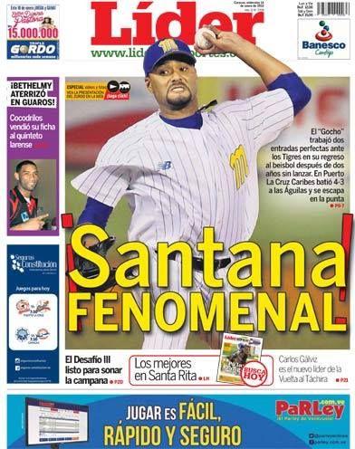 ¡#SANTANA FENOMENAL! | El #Gocho trabajó dos entradas perfectas en su regreso al beisbol después de enfrentar #Tigres | Es nuestra portada del 14 de enero